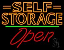 Orange Self Storage Block With Open 2 LED Neon Sign