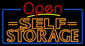 Orange Self Storage Block With Open 4 LED Neon Sign