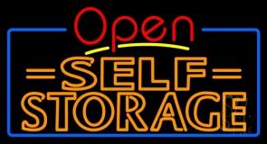 Orange Self Storage Block With Open 4 LED Neon Sign