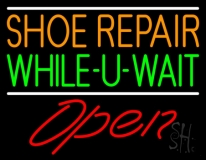 Orange Shoe Repair Green While You Wait Open LED Neon Sign