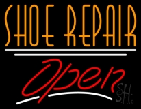 Orange Shoe Repair Open With Line LED Neon Sign