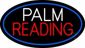 Palm Reading Blue Border LED Neon Sign