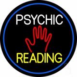 Psychic Reading Block Palm Blue Border LED Neon Sign