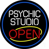 Psychic Studio Red Open Blue Border LED Neon Sign
