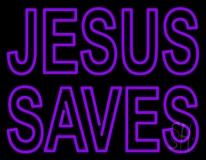 Purple Jesus Saves LED Neon Sign