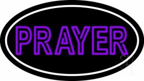 Purple Prayer With Border LED Neon Sign