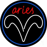 Red Aries White Aries Logo With Blue Circle LED Neon Sign