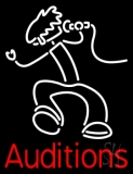 Red Auditions With Logo LED Neon Sign