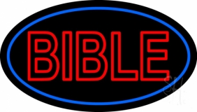 Red Bible Blue Border LED Neon Sign