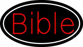 Red Bible With Border LED Neon Sign
