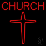 Red Church With Cross Logo LED Neon Sign