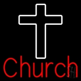Red Church With Cross LED Neon Sign