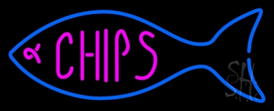 Fish Logo Chips LED Neon Sign