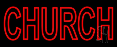 Red Double Stroke Church LED Neon Sign