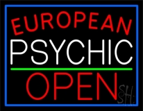 Red European White Psychic Red Open Green Line LED Neon Sign