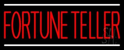 Red Fortune Teller White Line LED Neon Sign
