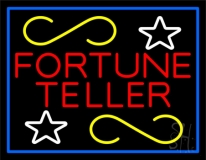 Red Fortune Teller With Blue Border LED Neon Sign