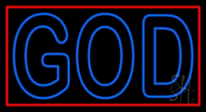 Red God With Border LED Neon Sign