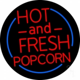 Red Hot And Fresh Popcorn With Border LED Neon Sign