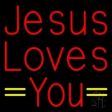 Red Jesus Loves You LED Neon Sign