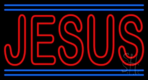 Red Jesus With Line LED Neon Sign