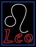Red Leo Zodiac Blue Border LED Neon Sign