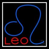 Red Leo Zodiac White Border LED Neon Sign
