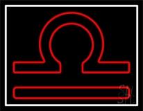 Red Libra White Border LED Neon Sign