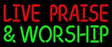 Red Live Praise Green And Worship LED Neon Sign