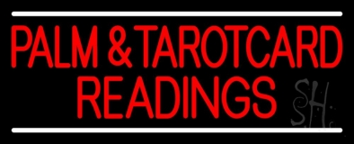 Red Palm And Tarot Card Readings White Line LED Neon Sign