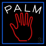 Red Palm Blue Border LED Neon Sign