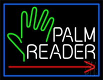 Red Palm Reader Arrow White Border LED Neon Sign