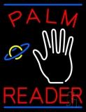 Red Palm Reader Blue Line LED Neon Sign