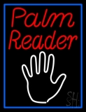 Red Palm Reader White Logo LED Neon Sign
