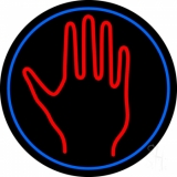 Red Palm With Blue Circle LED Neon Sign