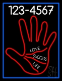 Red Palm With Phone Number Blue Border LED Neon Sign