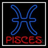 Red Pisces White Border LED Neon Sign