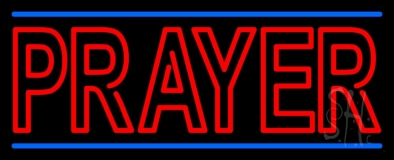 Red Prayer With Line LED Neon Sign