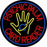 Red Psychic Palm Card Reader Blue Border LED Neon Sign