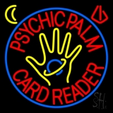Red Psychic Palm Card Reader Blue Circle LED Neon Sign