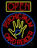 Red Psychic Palm Card Reader Open LED Neon Sign