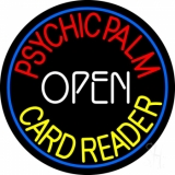Red Psychic Palm Yellow Card Reader White Open LED Neon Sign