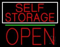 Red Self Storage White Border Open 1 LED Neon Sign