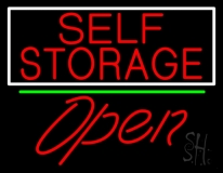 Red Self Storage White Border Open 2 LED Neon Sign