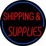 Red Shipping Supplies With Circle LED Neon Sign