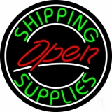 Red Shipping Supplies With Circle Open LED Neon Sign