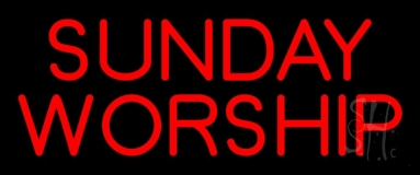 Red Sunday Worship Neon Sign