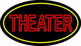 Red Theater With Border LED Neon Sign