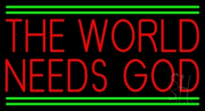Red The World Needs God LED Neon Sign