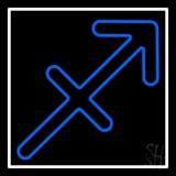Sagittarius Zodiac Blue Border White LED Neon Sign
